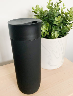 Open image in slideshow, CUSTOMISED TALL TRAVEL MUG - MATTE BLACK STAINLESS STEEL 350ML