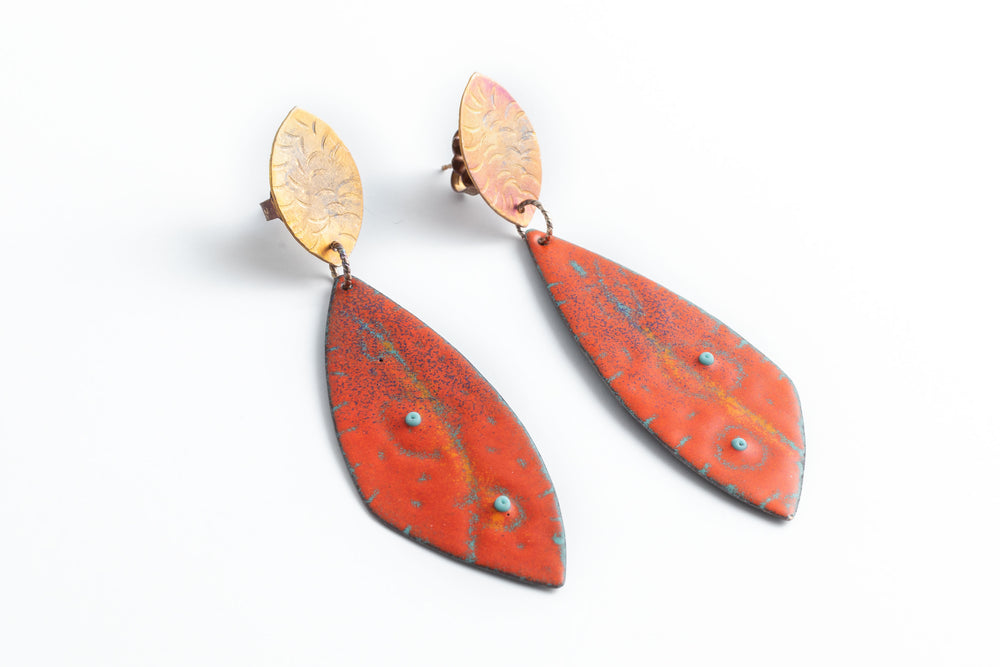 Tomato & Turquoise Enamel Earrings - Julie Shaw