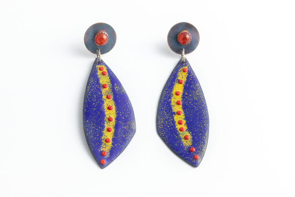 Cobalt Enamel Earrings - Julie Shaw