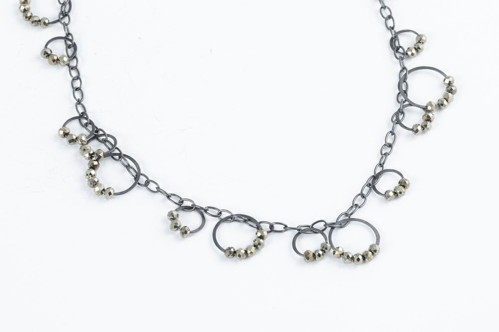 Chain Necklace with Beaded Hoops - Heather Guidero