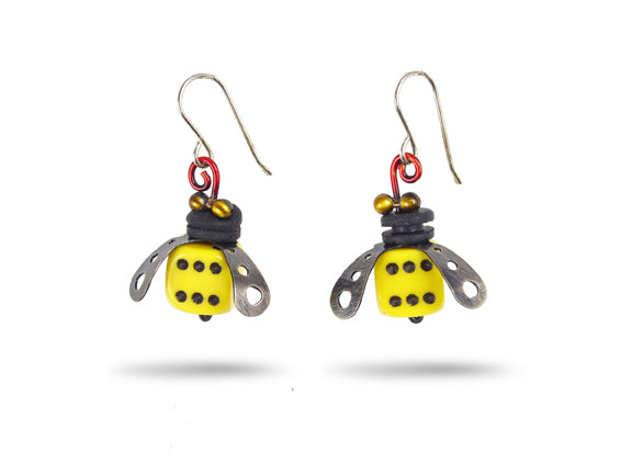 Load image into Gallery viewer, Box Car Bee Earrings - Chickenscratch