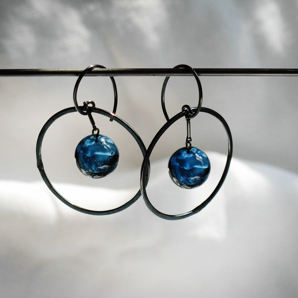 Load image into Gallery viewer, Globe Pendulum Earrings - Krista Bermeo