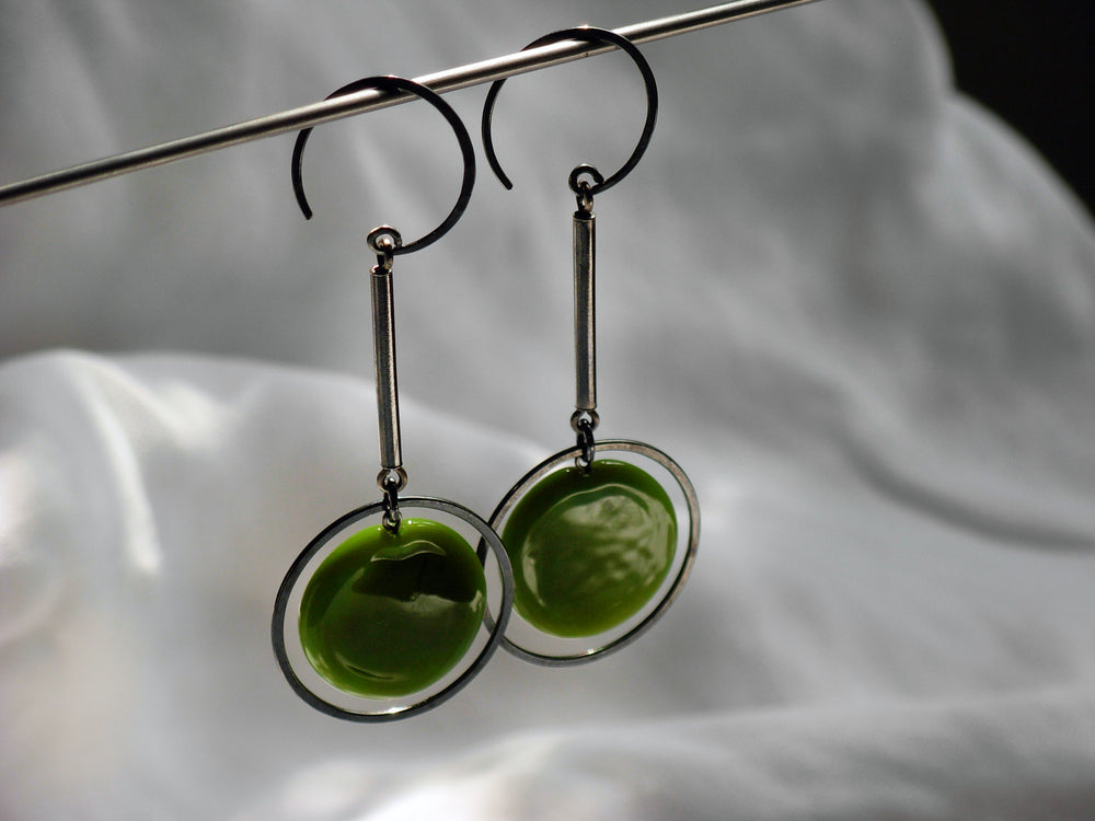 Load image into Gallery viewer, Olive Green Disc Drop Earrings - Krista Bermeo