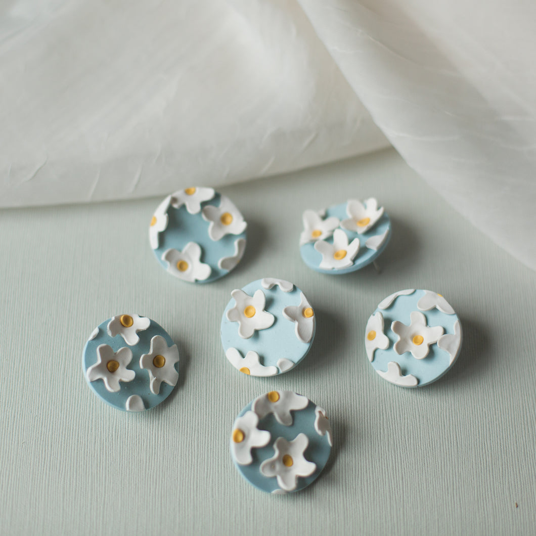 Field of Flowers: White and Blue Studs