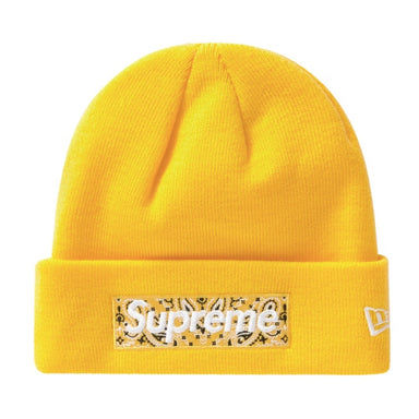 Supreme New Era Box Logo Beanie (FW19) Yellow - After Burn