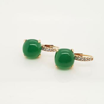 18ct Rose Gold Green Agate & Diamond Earrings