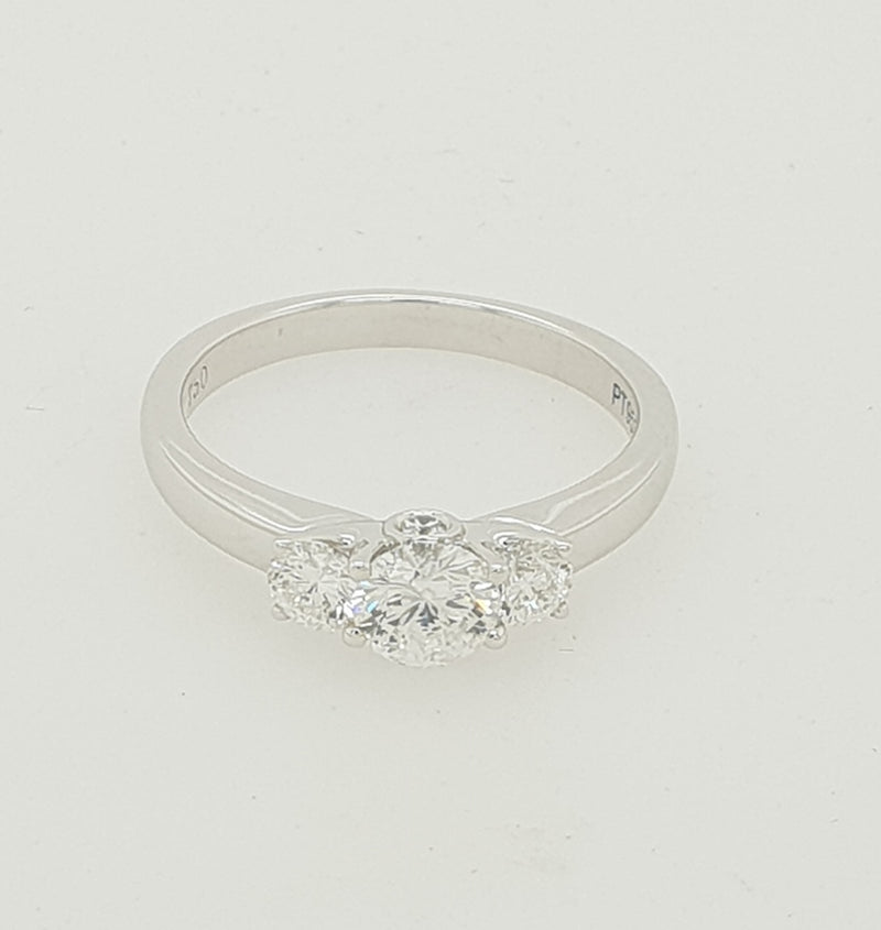 18ct white gold AURORA Diamond Triology Engagement ring .93pt TDW