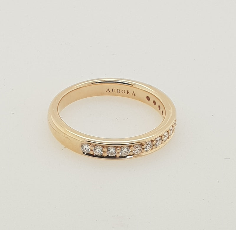 18ct rose gold AURORA diamond .375TDW pave set wedding ring