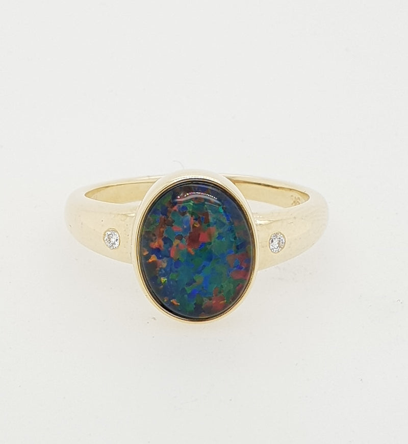 9ct yellow gold 10mm x 8mm Triplet Opal and Diamond Dress Ring