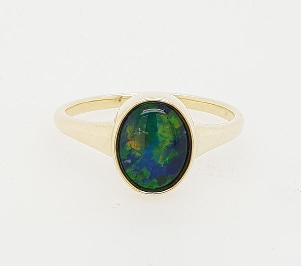 9ct yellow gold 9mm x 7mm Triplet Opal Ring