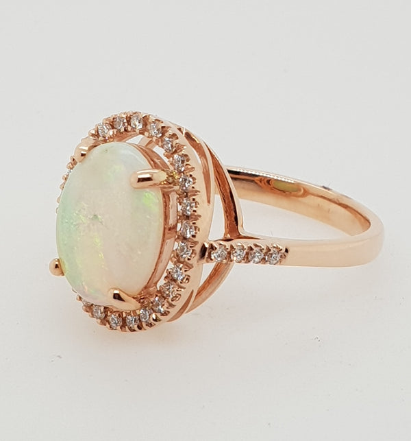 9ct rose gold 2.17carat Solid White Opal and Diamond Cluster ring
