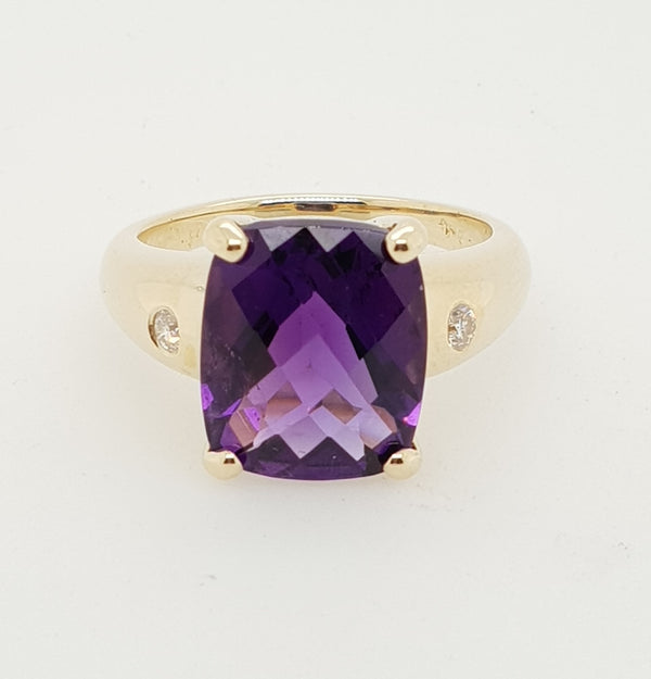 9ct yellow gold 5.26carat Amethyst and Diamond Ring