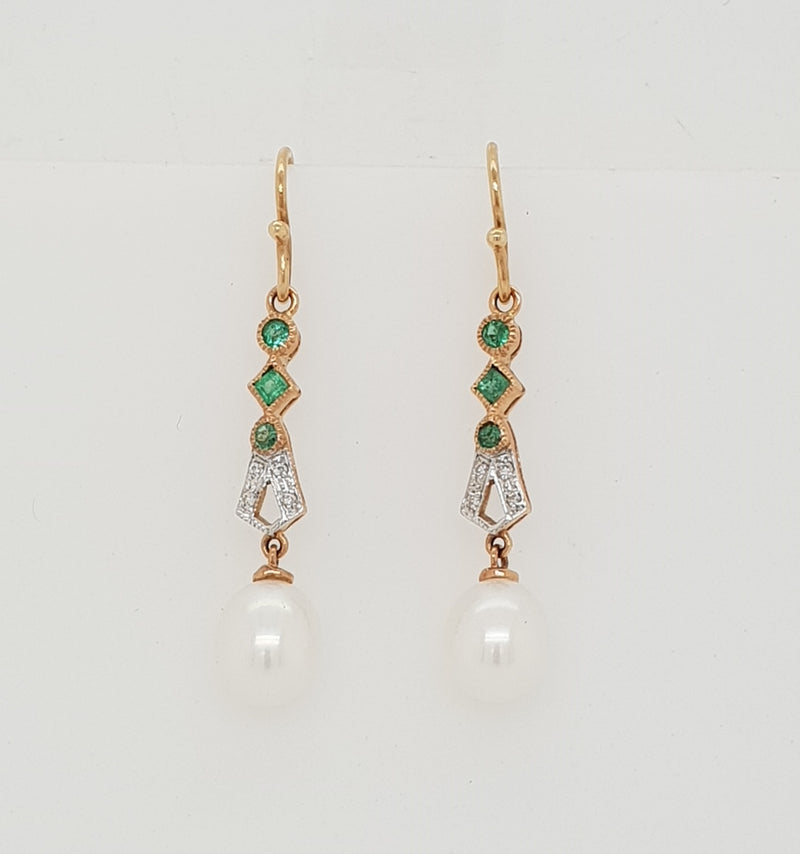 9ct rose gold Natural Emerald, Diamond and Freshwater Pearl Earrings