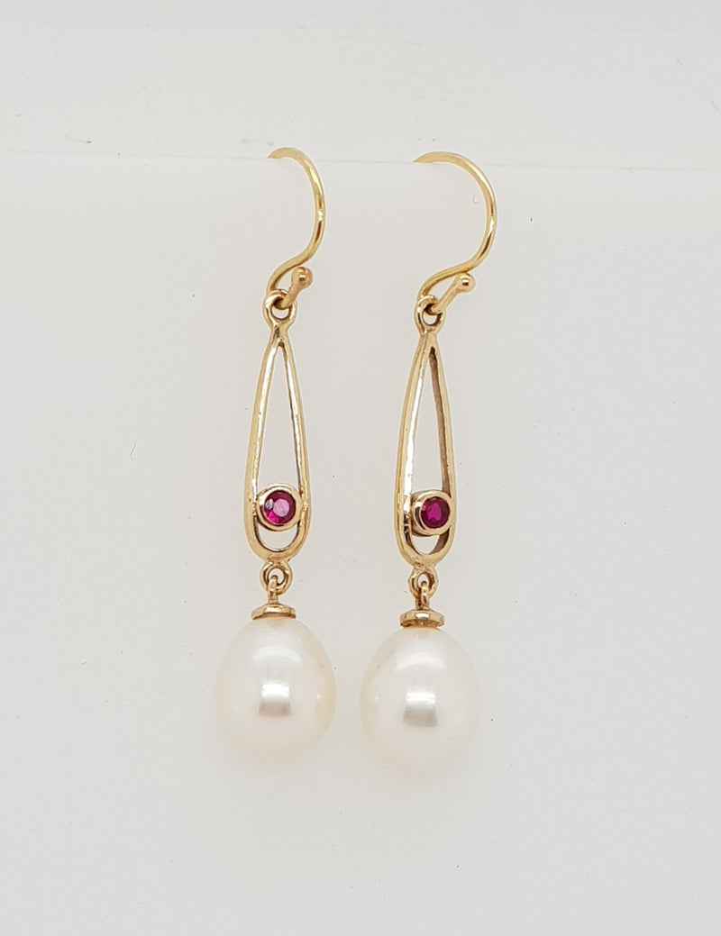 9ct yellow gold  Natural Ruby and Freshwater Pearl Earrings