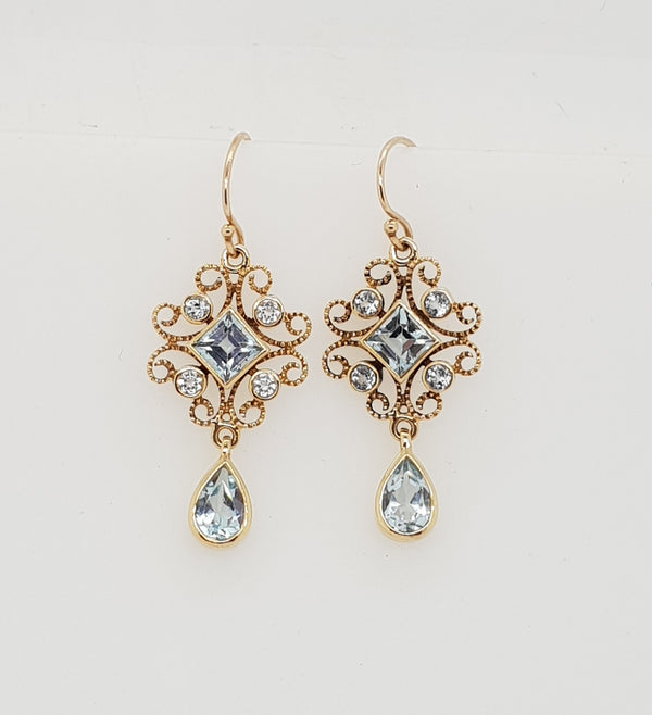 9ct yellow gold Blue Topaz Art Deco earrings