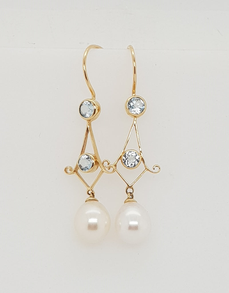 9ct yellow gold Blue Topaz and Freshwater pearl drop earrings