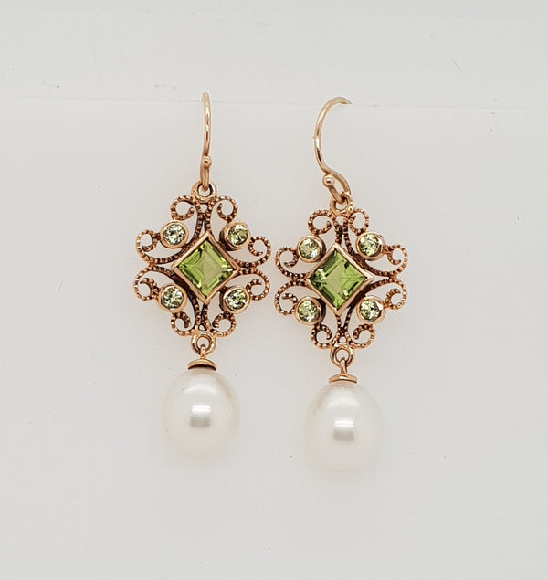 9ct rose gold Peridot and Freshwater Pearl Art Deco earrings