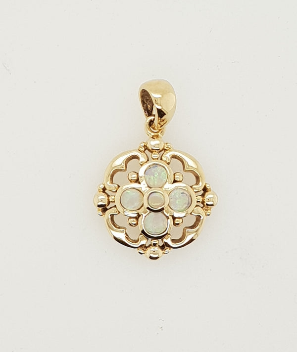 9ct yellow gold White Opal Vintage Pendant