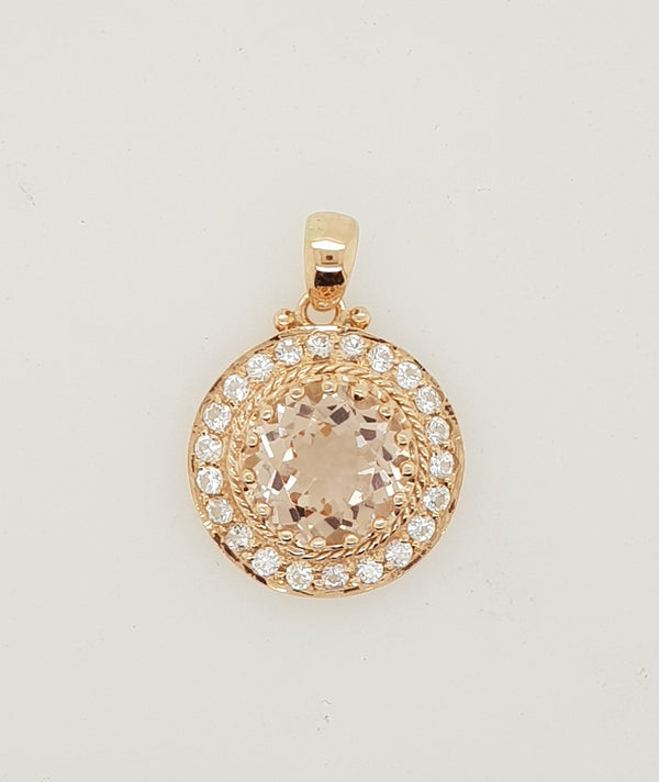 9ct rose gold Morganite and White Sapphire cluster Pendant