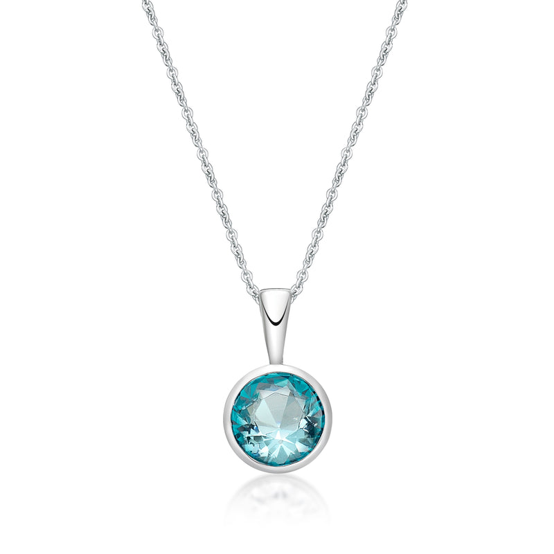 Sterling Silver March Birthstone Pendant with Sterling Silver Chain
