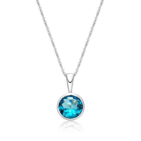 Sterling Silver December Birthstone Pendant and Chain