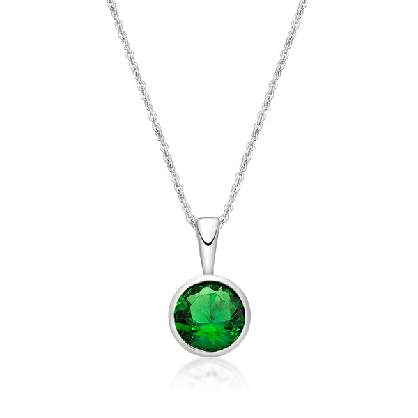 Sterling Silver May Birthstone Pendant and Chain