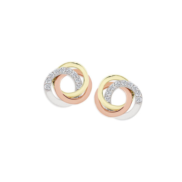 9Ct Tri Tone Cubic Zirconia Stud Earrings
