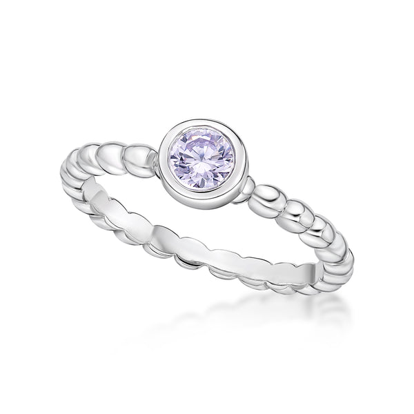 Serling Silver June Birthstone ring