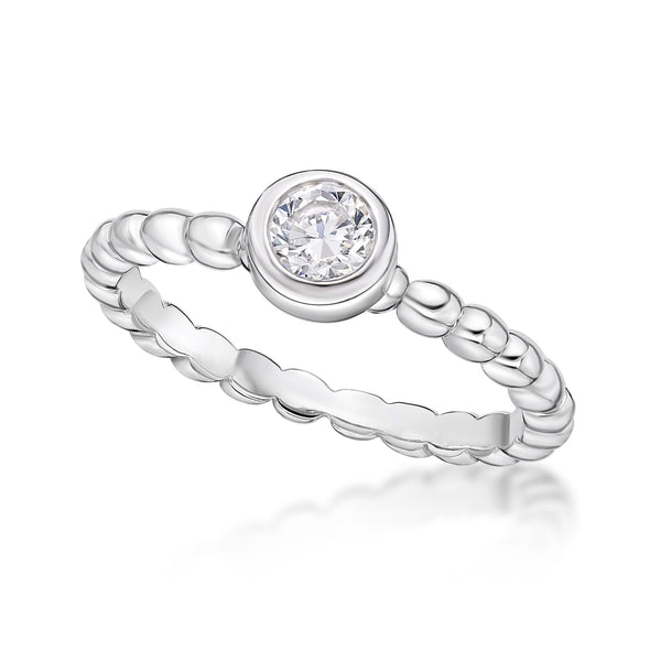 Sterling Silver April Birthstone Ring