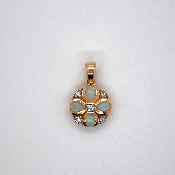 9ct rose gold White Opal and Diamond Pendant