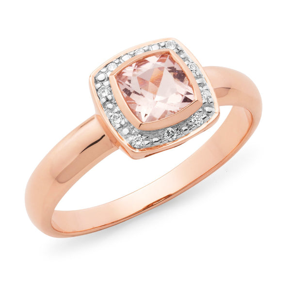 9Ct Rose Gold Morganite & Diamond Dress Ring