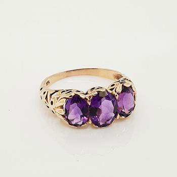 9ct Rose Gold Amethyst Ring