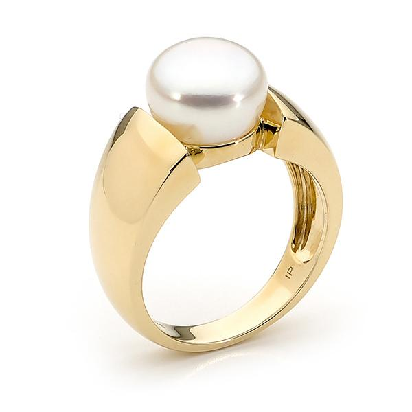 9ct Yellow Gold White 10-10.5mm Freshwater Pearl Ring Size P--T
