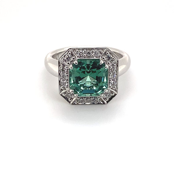 Lagoon tourmaline and diamond dress ring