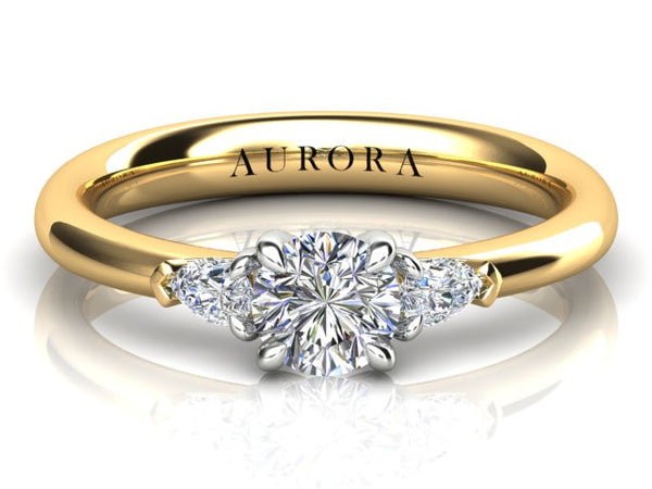 18ct yellow gold 1.02carat Aurora Diamond Trilogy ring