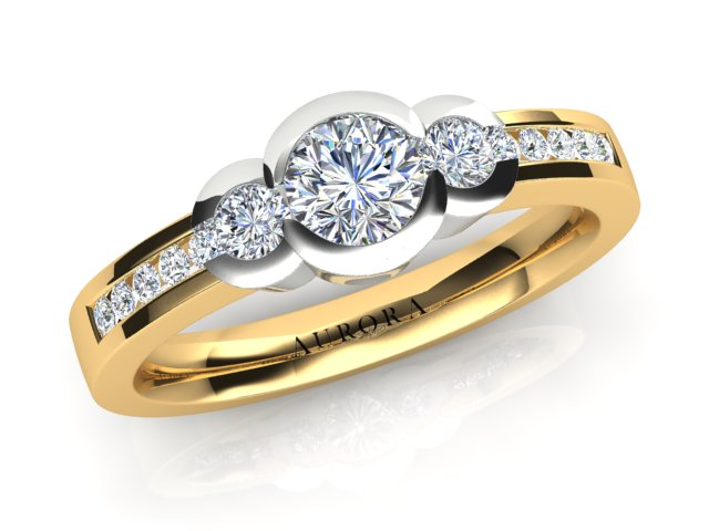 18ct yellow gold AURORA .56pt TDW Trilogy Engagement ring