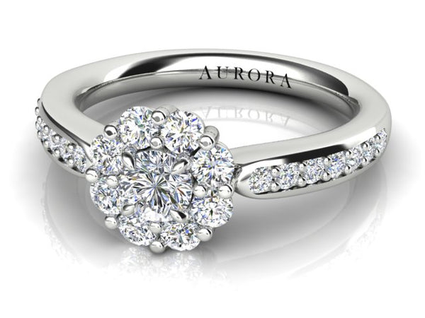 18ct white gold .22pt Aurora Diamond Halo Engagement Ring