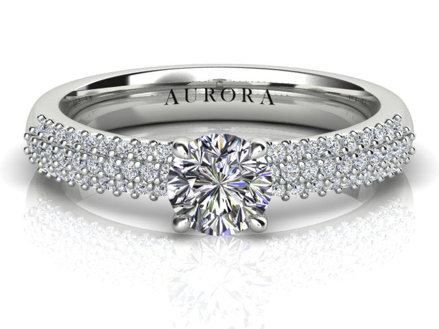 18ct white gold .76pt Aurora Diamond Engagement ring TDW: .98pts