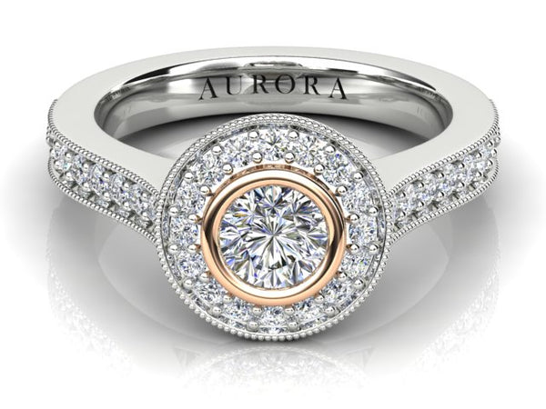 18ct white and rose gold Aurora .62pt GSI halo diamond Engagement Ring TDW: 1.04carat