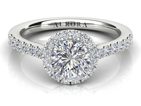 18ct white gold .72pt Aurora Diamond Halo Engagement Ring