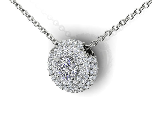 18ct white gold .83pt Aurora Diamond Halo Pendant