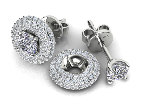 18ct white gold .60pt Aurora Diamond studs with removable double Halo disc