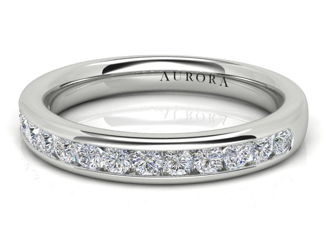 18ct white gold Aurora .375pt channel set wedding ring