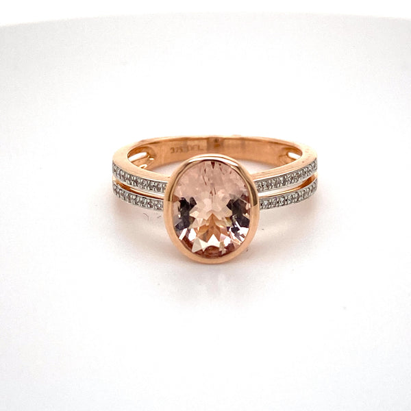 9ct rose gold 10mm x 8mm Morganite and Diamond band Ring