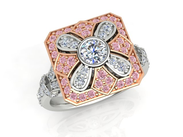 18ct white and rose gold Argyle Pink and white Diamond Ring 1.09carat