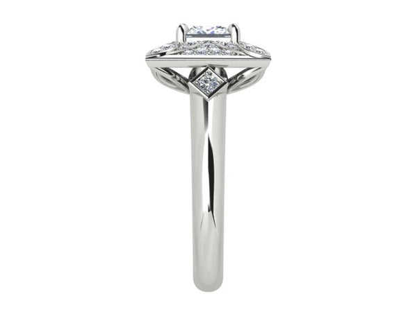 18ct white gold 1.06 carat Ascher cut diamond ring