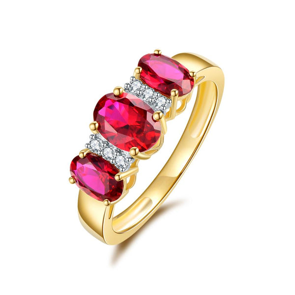 9Ct Gold Created Ruby & Diamond Ring