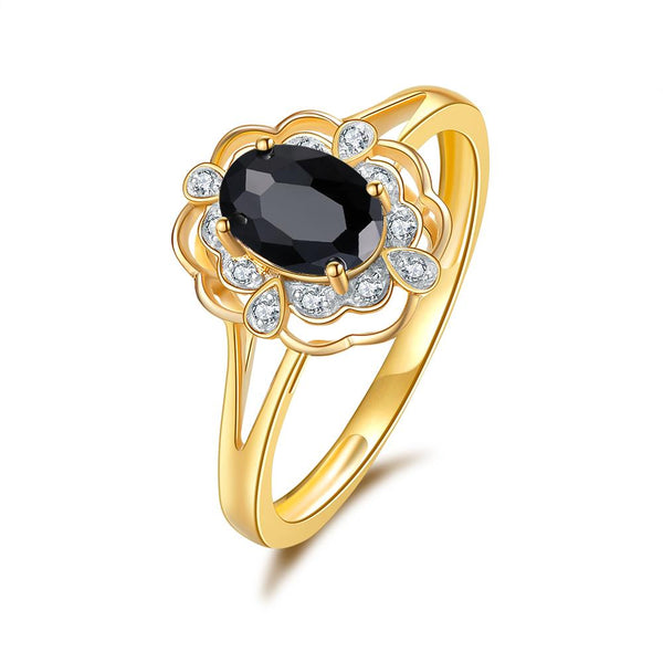 9Ct Gold Blue Sapphire & Diamond Ring