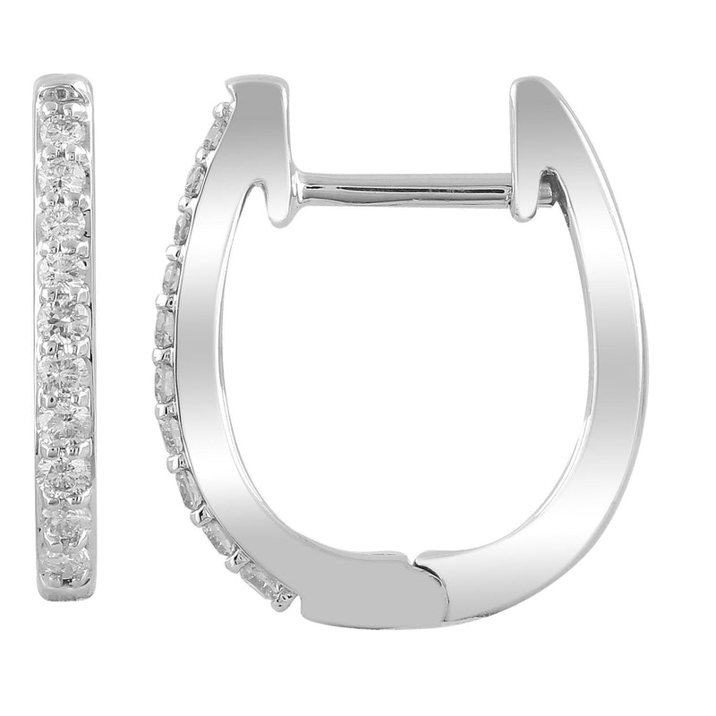 Huggie Earrings with 0.15ct Diamonds in 9K White Gold