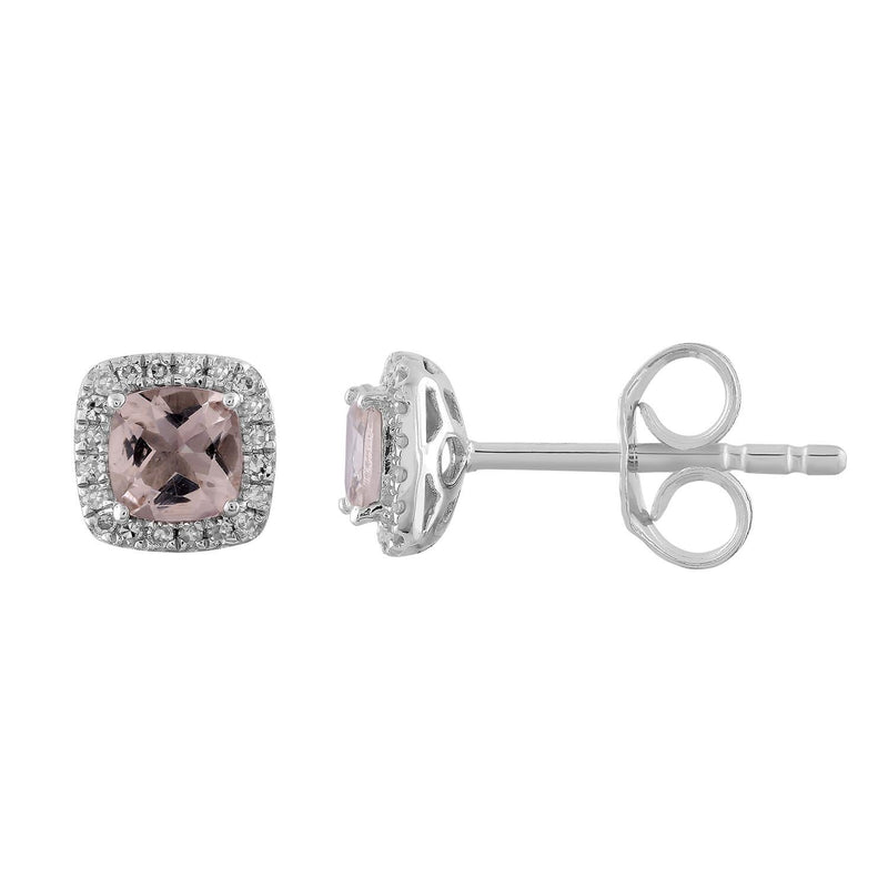 Morganite Stud Earrings with 0.09ct Diamonds in 9K White Gold